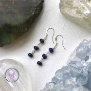 Lapis Lazuli Rondelle Dangle Earrings